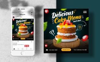 Cake Menu Instagram Post Banner. Social Media Template