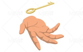 Key In Hand on White Illustration