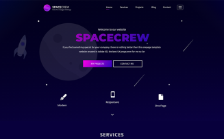 SpaceCrew – Portfolio Landing Page Adobe XD PSD Template