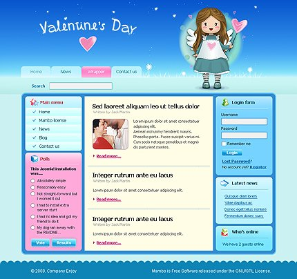 Mambo Main Page preview