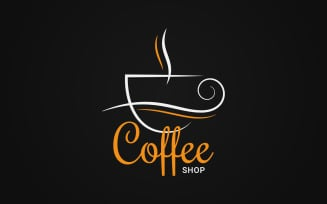 Coffee Сup Logo on Black Background Logo template