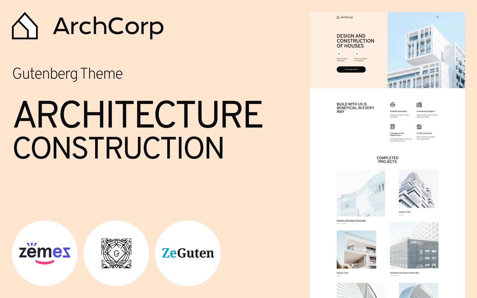 ArchCorp - Architecture Construction Template for Gutenberg WordPress Theme