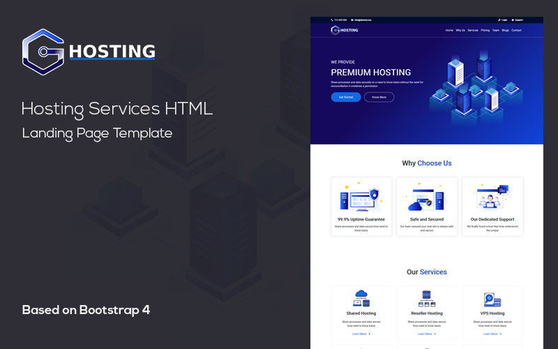 Hosting - Domain Hosting Provider HTML Template Landing Page Template