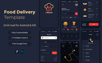 DMeals - The Food Delivery App UI Mobile Kit Android | IOS (Dark)