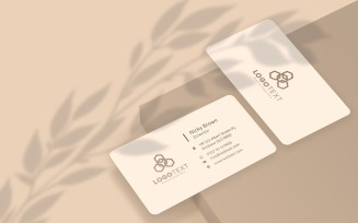 Beige Color Business Card Mockup at Leaves Shadow Product Mockup