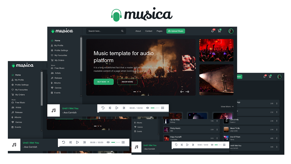 Musica – Music streaming & Record HTML5 Website Template