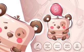 Bear With Balloon - Graphic Illustration