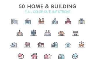 Home & Building Color Iconset template