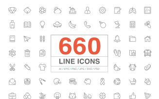 660 Line Icons Pack Iconset template