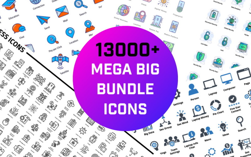 13000+ Mega Big Bundle Iconset template Icon Set