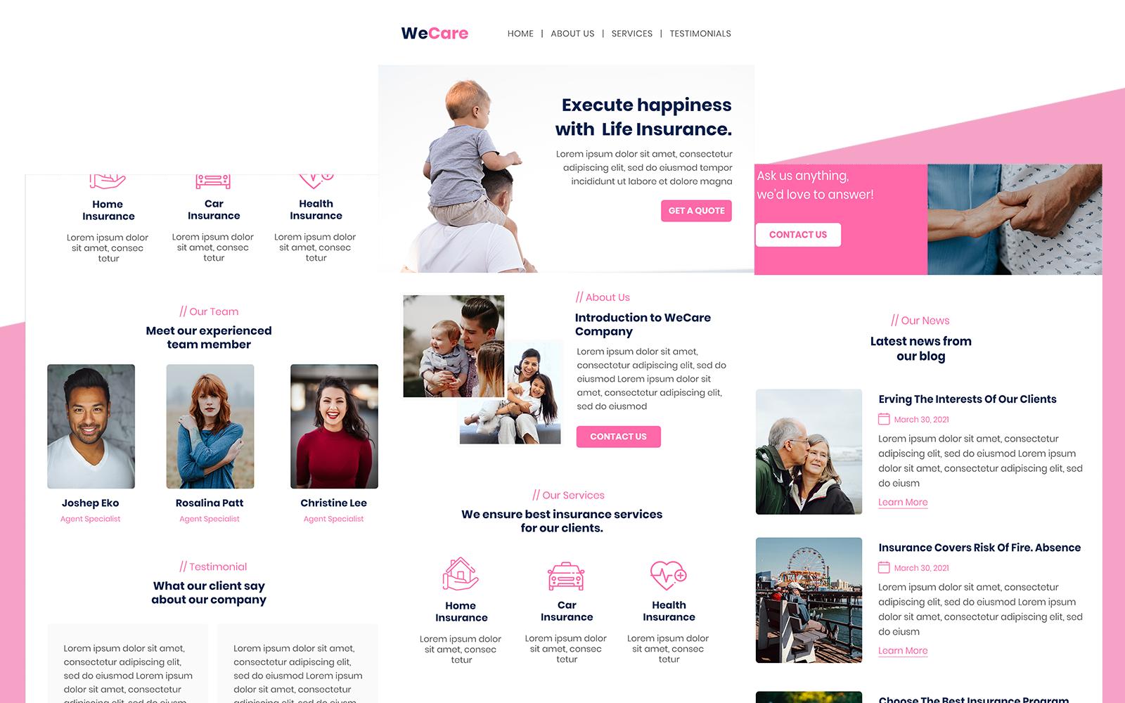 WeCare– Multipurpose Insurance Responsive Email Newsletter Template