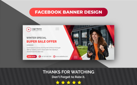 Awesome Modern Winter Super Sale Facebook Cover Social Media
