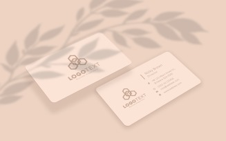 Beige Color Business Card Mockup With Leaves Shadow Product Mockup