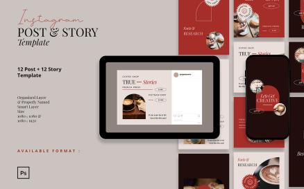 Bold Retro Coffee Shop Instagram Post and Story Social Media