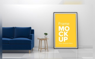 Modern Living Room With A Blank Frame Product Mockup