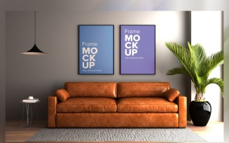 Modern Sofa With Cushions And A Lamp In A Living Room Product Mockup