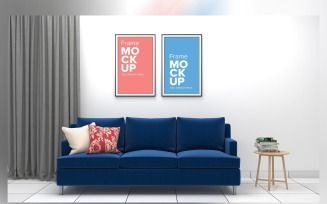 Modern Sofa With Cushions And Frame Mockup In A Living Room Product Mockup