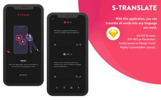 S-Translate Mobile App Sketch Template - Neumorphic Dark Mode