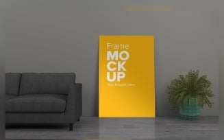 Living Room With Frames On The Wall Product Mockup