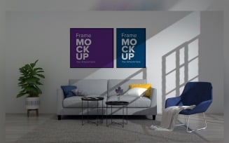 Living Room With Two Frames On The Wall Product Mockup