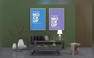 Simple Sofa With Cushions Living Room in Two Frames On The Wall Product Mockup