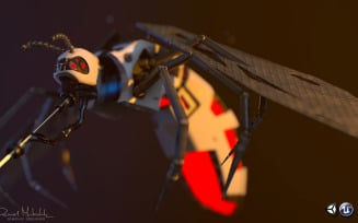 Cyber Mosquito Bug Low Poly 3d Model