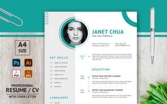 Janet Chua CV Layout for Job Application - Printable Resume Template