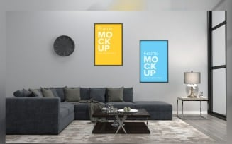 Modern Living Room Mockup A Lamp In A Fluffy Rub And Wall Frame Mockup