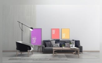 Modern Sofa With Cushions And A Lamp In A Living Room with three frame Mockup
