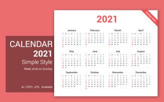 Simple Calendar 2021 Sunday Starts Planner