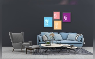 Luxury Sofa With A Coffee Table And Lamps On A Carpet In A Living Room With Frame On Wall Mockup
