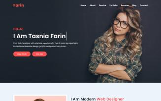Farin Personal Portfolio Bootstrap4 Landing Page Template