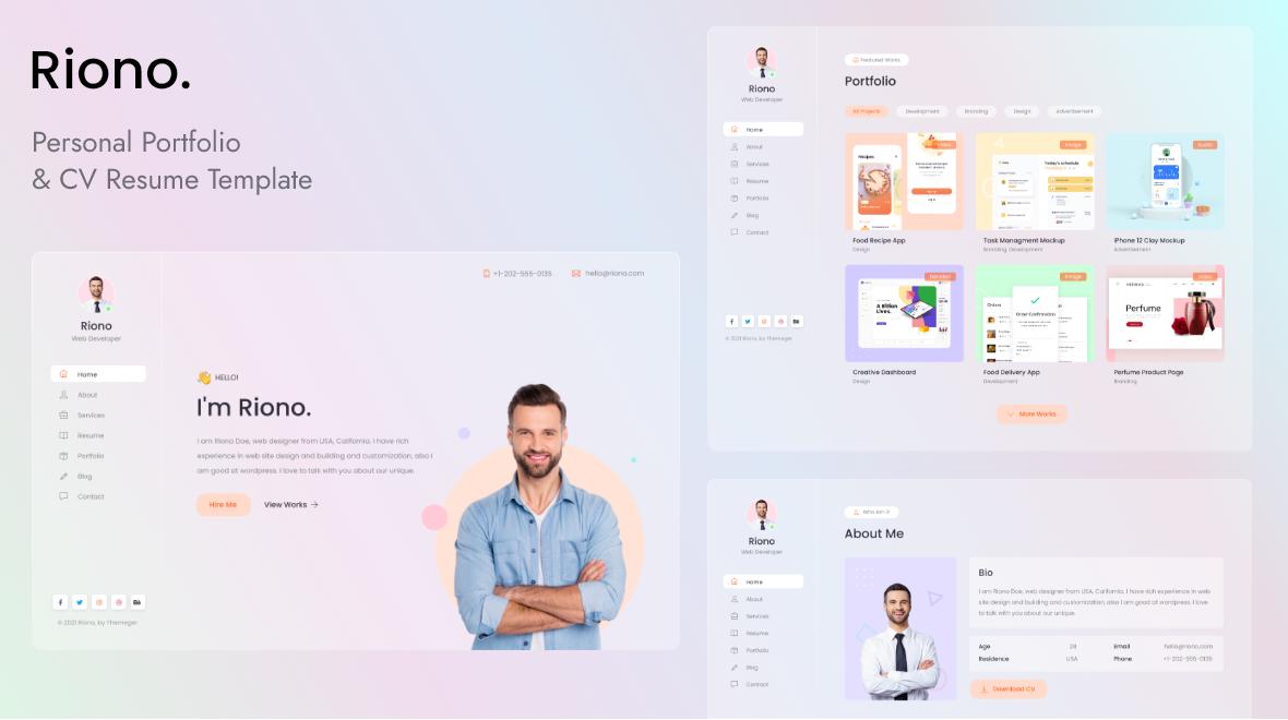 Riono - Personal Portfolio Landing Page Template