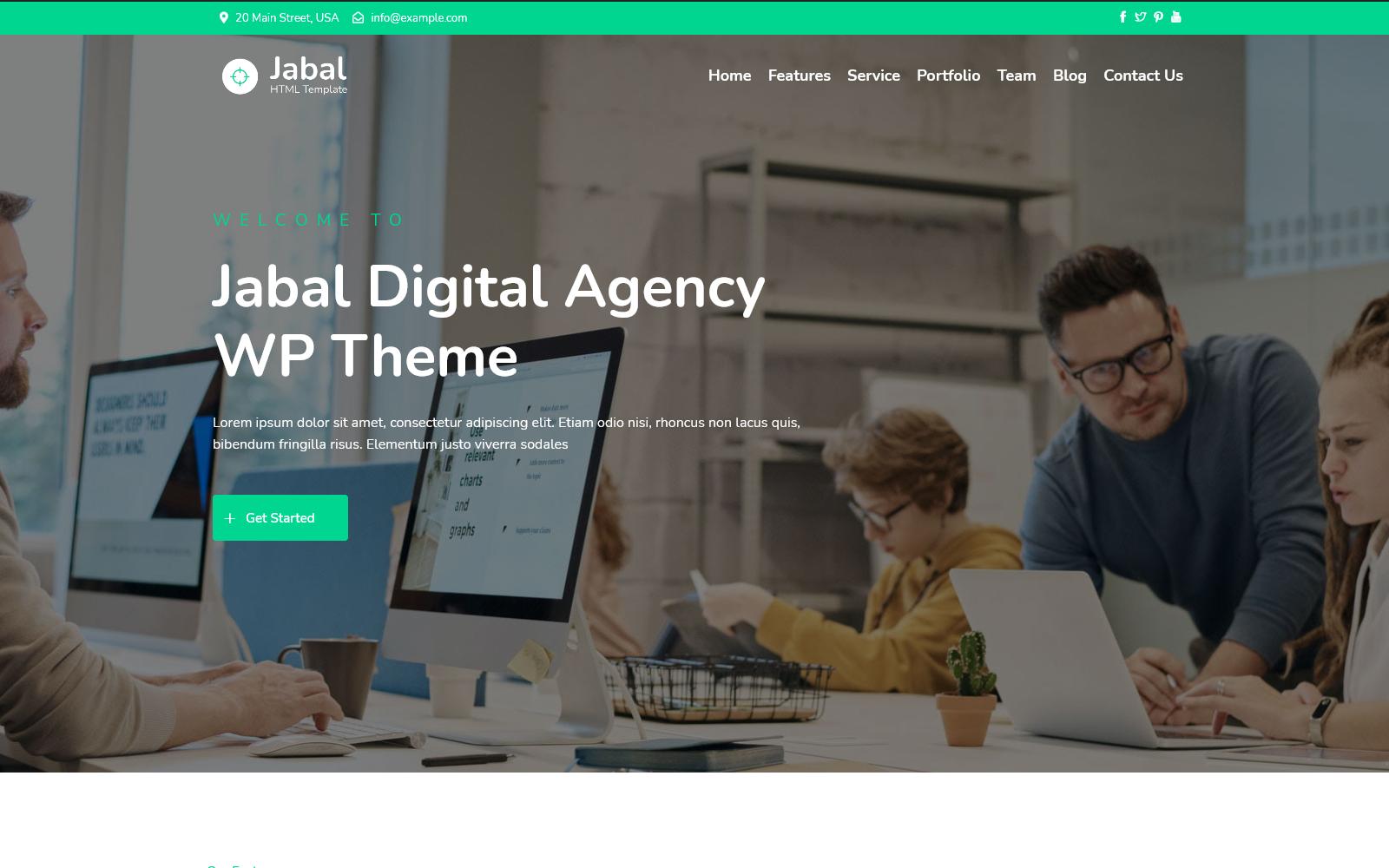 Jabal - Digitális ügynökség Egy oldalas WordPress téma