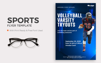 Free Volleyball Varsity Tryouts flyer template design.