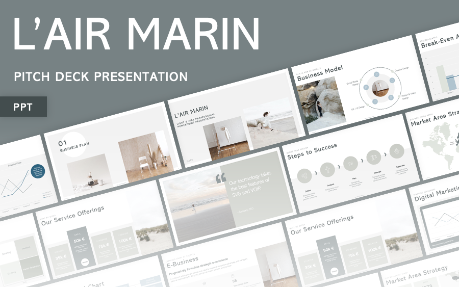 L'Air Marin - Pitch & Business Plan PowerPoint Template