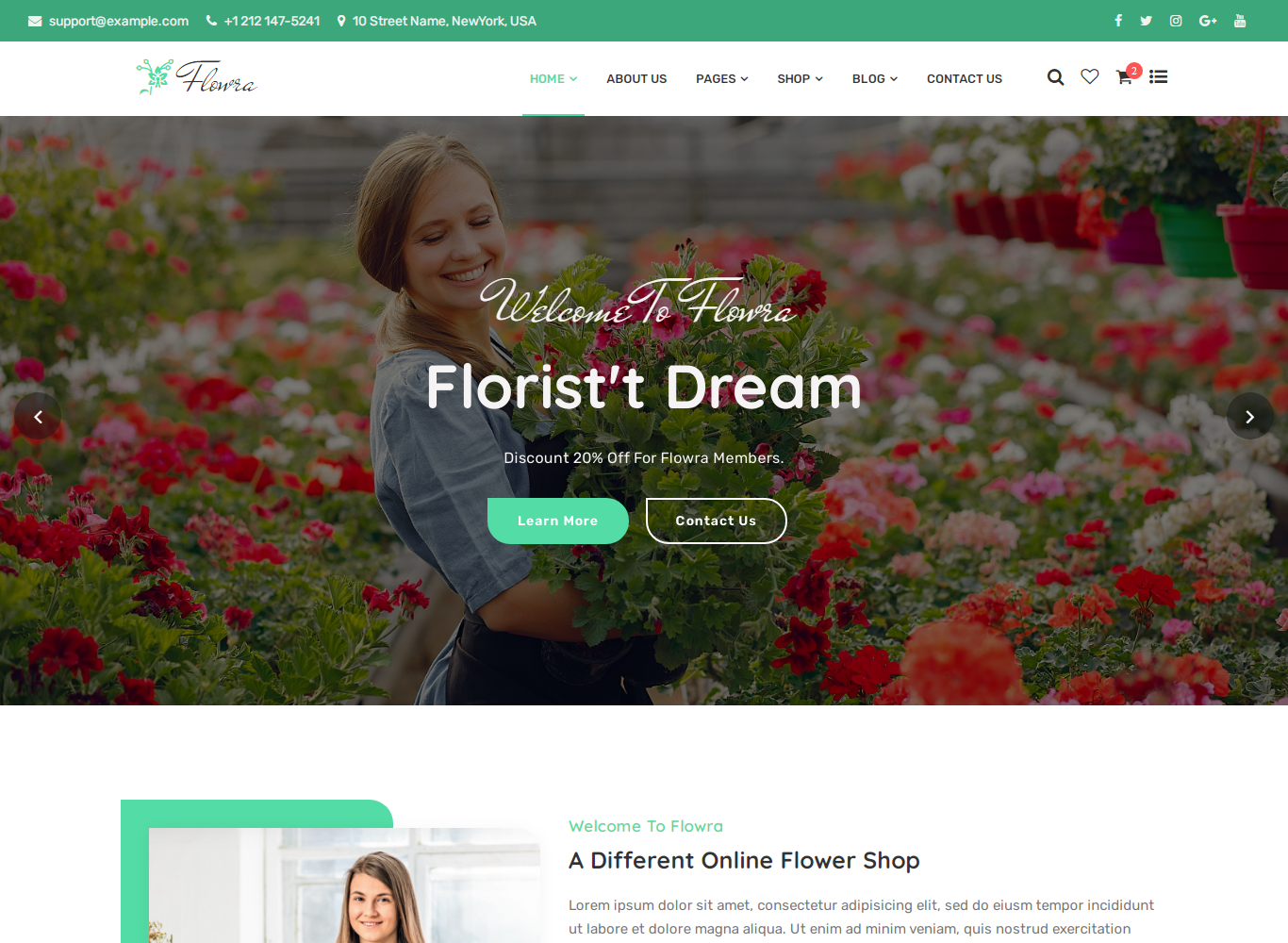Flowra - Flowershop Website Template