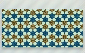 Ornament Pattern Blue & Yellow Background