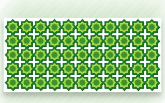 Ornament Pattern Green & Whit Background