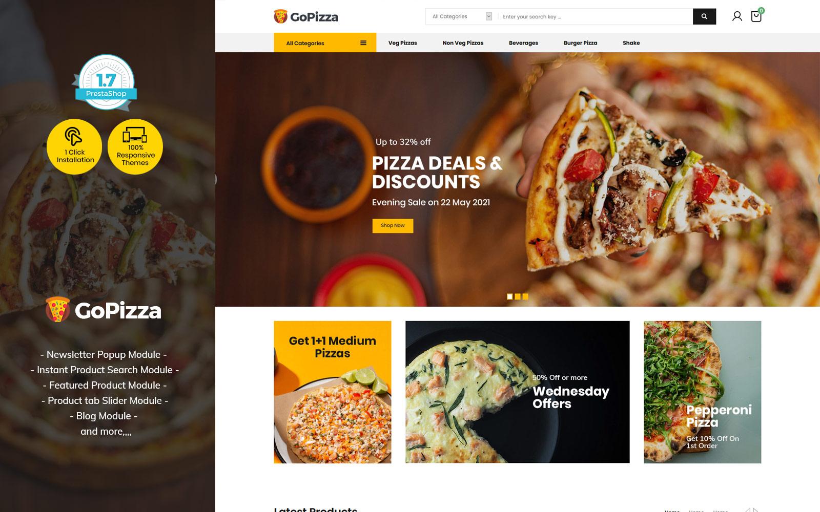 Gopizza Pizza - Restaurant Eten Burger PrestaShop Store