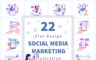 22 Social Media Marketing Flat Illustration