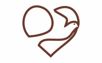Love Birds Lines Logo Templat
