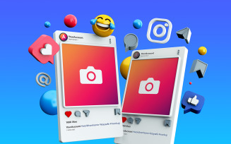Mockup 3D Instagram Social Media Post