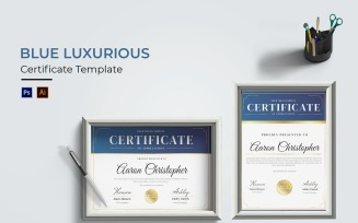 Blue Luxurious Certificate template