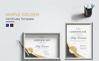 Simple Golden Certificate template