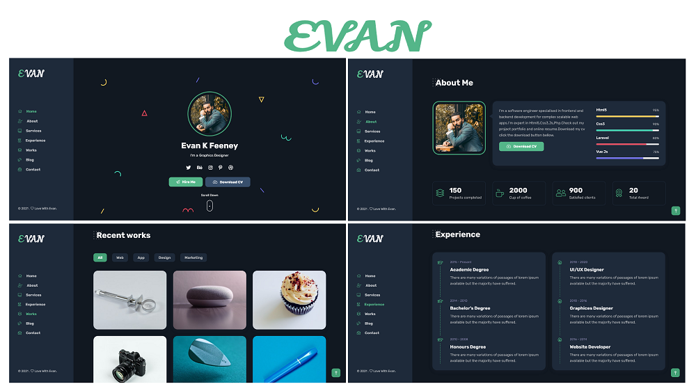 Evan - Portfolio CV Resume Landing Page HTML5 Template