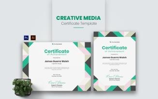 Creative Media Certificate template