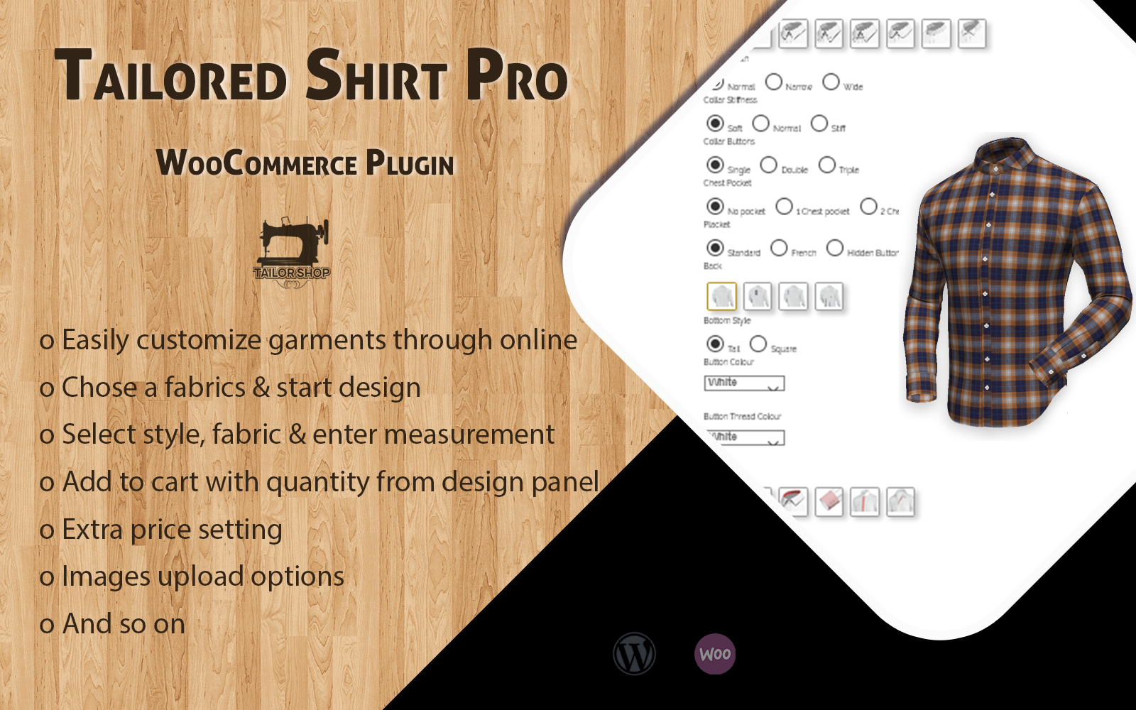 WooCommerce Tailored Shirt Online Pro - WordPress-plug-in