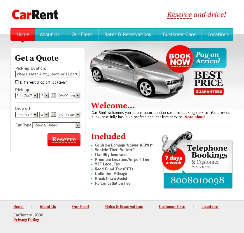 Rental Site: Car Rental Website Template #18260