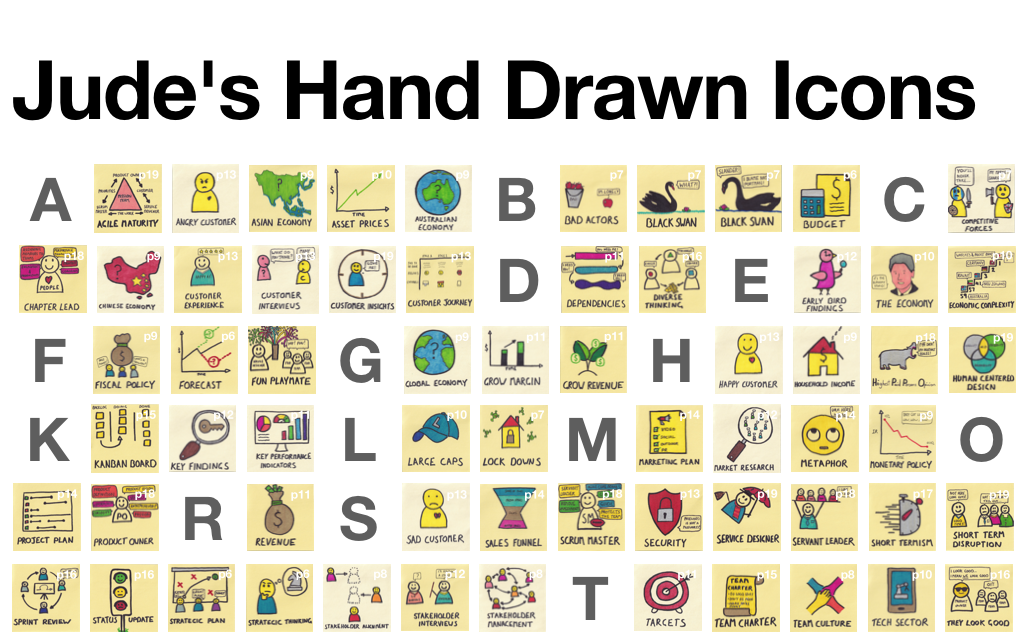 Jude's Hand Drawn Icons - Create Agile Post-it Note Style Workshop Storyboards Powerpoint Template